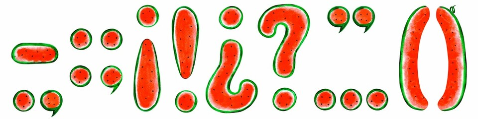 Watercolor Spanish punctuation marks (period, question mark, exclamation point, comma, semicolon, colon, parentheses, apostrophe, quotation,  dash): on white background. Summer tasty font. © ale..na