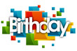 birthday word in rectangles and white background