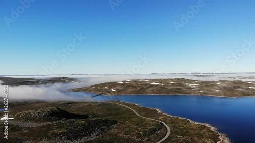 Hardangervidda mountain plateau landscape. National tourist Hardangervidda route. Norway in summer