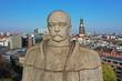 canvas print picture - Hamburg. Bismarck Denkmal vor der Skyline mit Michel, Elbphilharmonie, Hafen. Luftaufnahme.