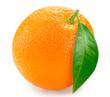 Fresh orange with leaf on white background