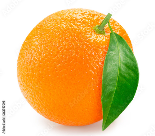canvas print picture Fresh orange with leaf on white background