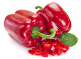 Fresh red pepper on white background