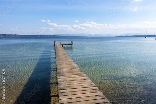 wooden jetty Starnberg lake © magann
