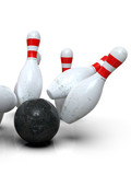 Detailed action shot of bowling ball hitting all pins, scoring a strike. Pins in motion on light background. Representing success, competition, hit target, perfection. 3D rendering