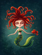Cute mermaid with a seahorse - 262763460