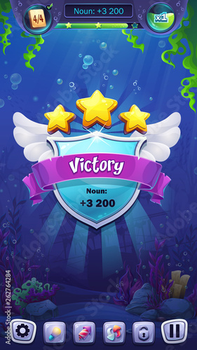 Mahjong fish world - vector illustration mobile format victory window