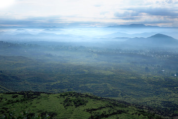 Smoky landscape in Central Africa, hills of Rwanda