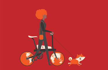 Cartoon picture with black woman riding fast modern electric bicycle with wotld maps, globe. Enjoying futuristic bike ride and he's walking the dog. Flat style vector illustration. Red Background.