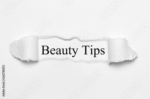 canvas print picture Beauty Tips on white torn paper