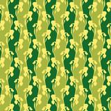 Yellow irises seamless pattern on green background