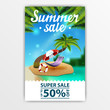 Summer sale, discount banner with beautiful lettering, seascape,