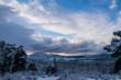 canvas print picture - cloud landscape over snowy mountains