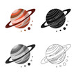Vector illustration of planet  and system icon. Set of planet  and orbit  vector icon for stock. - 262805064