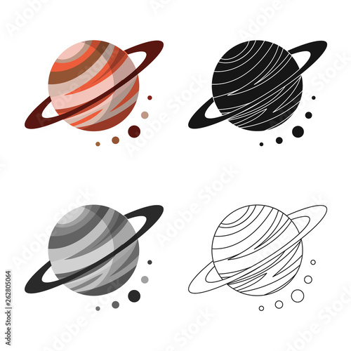 Vector illustration of planet  and system icon. Set of planet  and orbit  vector icon for stock.
