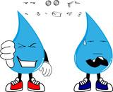 water drop cartoon kawaii style expression set collection