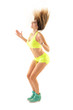 canvas print picture - Zumba dance fitness instructor doing sport aerobic exercises. Motivational coach