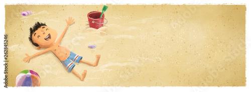 niño tumbado en la playa - 262845246