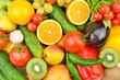 Background of Collection fresh fruits and vegetables . - 262849672