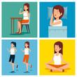 set woman health lifestyle to wellness balance