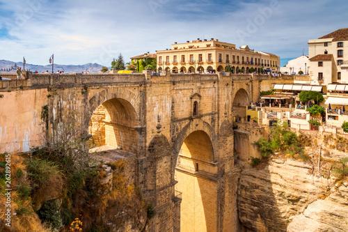 canvas print picture El Puente Nuevo, Brücke, Ronda, Spanien