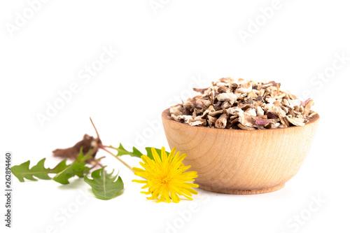 Bowl of Dandelion Root an Alternative Medicine