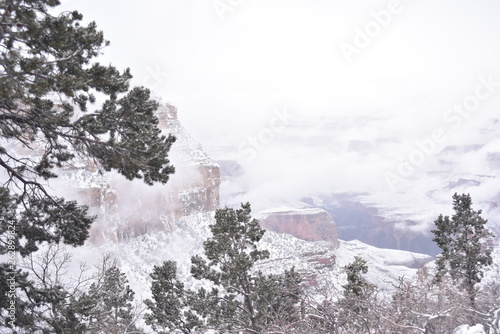 canvas print picture Grand Canyon, AZ., U.S.A. Dec. 31, 2018.  Grand Canyon National Park New Year's Eve afternoon with light snow falling.