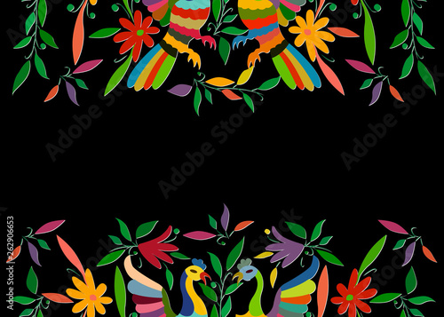 Mexican Traditional Textile Embroidery Style from Tenango City, Hidalgo, México. Copy Space Floral Composition with Birds, Peacock, colorful frame composition isolated or black background