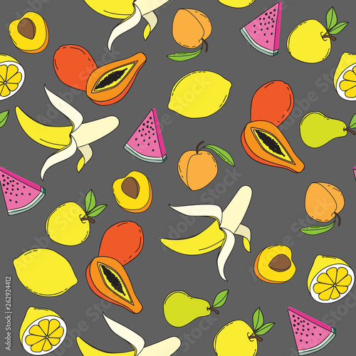 Background with juicy fruits. Fruit seamless pattern. Vector illustration - 262924412