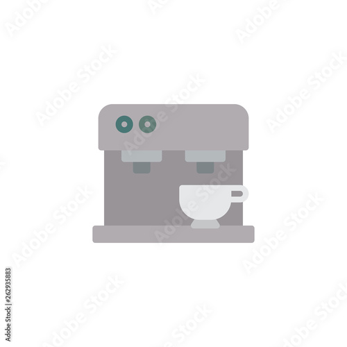 Coffee machine flat icon, vector sign, Coffee maker with cup colorful pictogram isolated on white. Symbol, logo illustration. Flat style design - 262935883