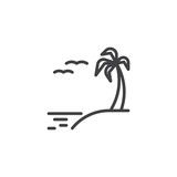 Exotic island beach line icon. linear style sign for mobile concept and web design. Summer beach with palm tree, sea and birds outline vector icon. Symbol, logo illustration. Vector graphics - 262943232