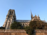 Notre Dame, the most beautiful Cathedral in Paris. View from the river Seine, France.