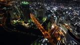 Aerial night view of Yokohama Cityscape, view from Yokohama Landmark Tower, Japan