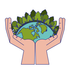 save world symbol blue lines