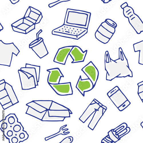 Recyclable things vector seamless pattern. Clothes, energy-saving lamp, package box, cardboard, paper elements with recycle label hand drawn doodle concept © aleksorel