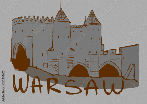 Vintage image of Warsaw walls