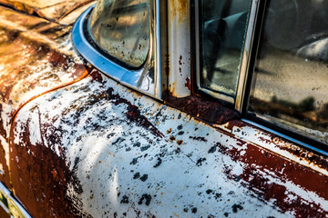 Close up of a rusty car
