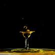 canvas print picture - Wasser, Wassertropfen, Wassertropfenkollision, Tropfen, Watersplash, Splash, Platsch, gelb-schwarz, gelb, schwarz,