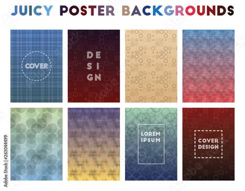 Juicy Poster Backgrounds. Alluring geometric patterns. Outstanding background. Vector illustration. - 263044499