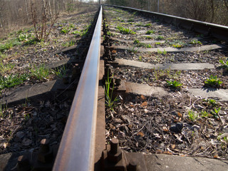 railroad tracks in the field