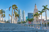 MIAMI - MARCH 30, 2018: City buildings view from American Airlines Arena. Miami attracts 20 million people annually - 263080648