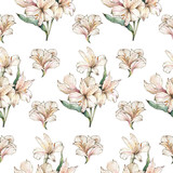 Alstoemeria flowers background. Watercolor white lilies. Elegant wallpaper with seamless pattern.