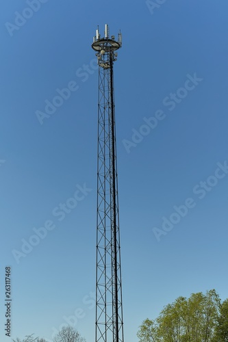 canvas print picture Telecommunication tower. Mobile phone base station.