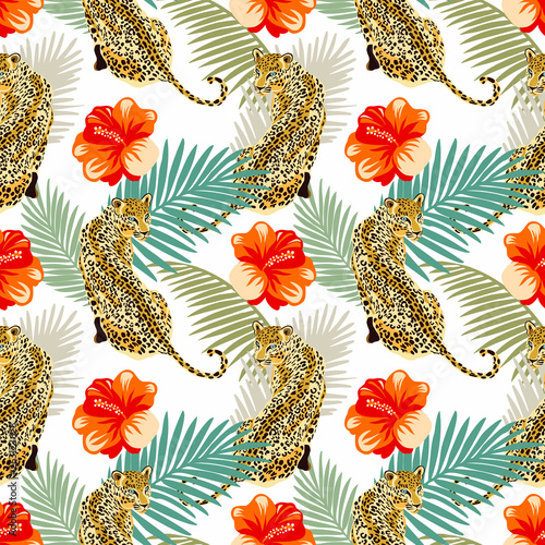 Leopard print pattern with tropical hibuscus flowers © lilalove