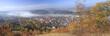 canvas print picture - Herbststimmung mit Nebel über Kahla
