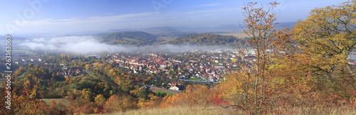 canvas print picture Herbststimmung mit Nebel über Kahla