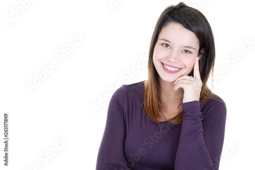 canvas print picture portrait of young smiling woman businesswoman looking in camera with copy space