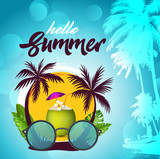 Beach accessories. Summer tropic travel background design. - Vector - 263173606