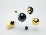 Abstract background with black and golden glossy spheres