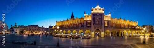 Krakow Cloth Hall by late blue hour (panoramic)